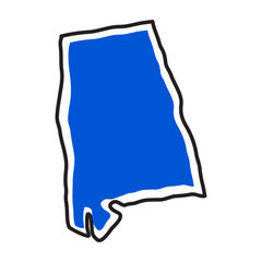 Isolated map of the state of Alabama