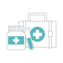 Medical symbols and supplies vector illustration graphic design
