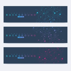 Scientific set of modern vector banners. DNA molecule structure with connected lines and dots. Science vector background. Medical, tecnology, chemistry design.