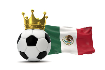 Mexico flag and soccer ball with gold crown. 3D Rendering