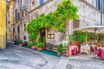 Historical buildings in the old city center of Verona, Italy