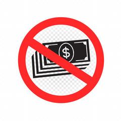 no cash sign symbol icon
