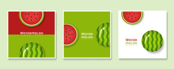 Set of fruit banners with watermelon in paper art style , vector , illustration