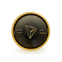 Tron Cryptocurrency Black Coin Isolated