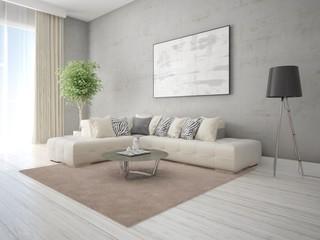 Mock up a stylish living room with a stylish corner sofa and trendy hipster background.