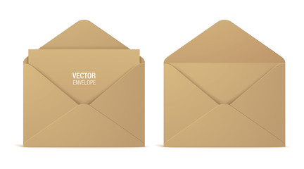 Kraft paper vector envelopes, isolated on a white background. Set of realistic brown opened envelope mockups.