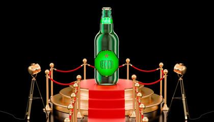 Podium with glass beer bottle, 3D rendering