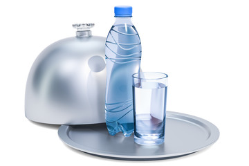 Restaurant cloche with plastic water bottle and glass of water, 3D rendering