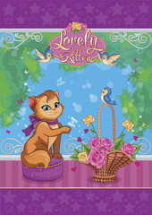Glamorous cat, birds and basket with roses. Child illustration. Vector.