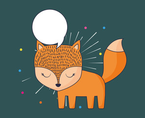 cute fox and speech bubble over blue background, colorful design. vector illustration
