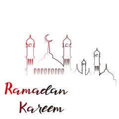Ramadan Kareem greeting card with Islamic ornaments. Vector