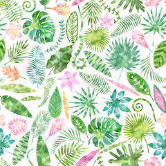 Tropical seamless pattern, exotic leaves and flowers background