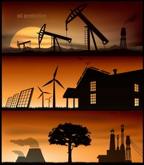 set of energy banner for facebook Poster vector