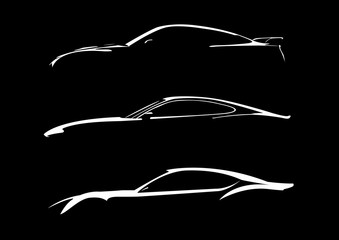 Cars silhouette on black background