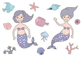 Set of cute mermaids and marine nature.