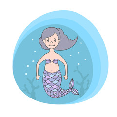 Cute mermaid on marine background.