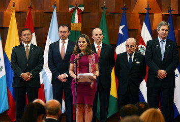 Canadian Foreign Minister Freeland addresses the media during a meeting of the Lima Group, in Mexico City