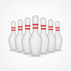 Group of bowling pins isolated on white background. Vector illustration.
