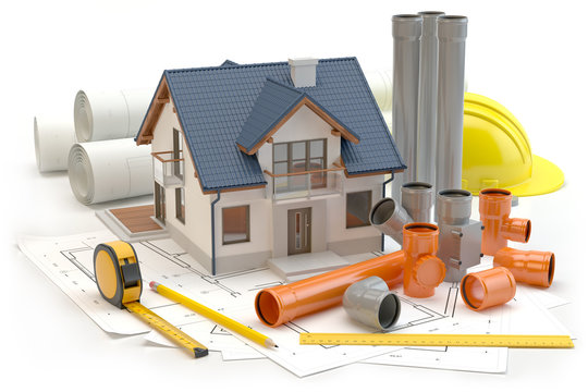 House, plans and elements for sewer system