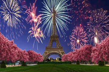 Acrylic Prints Eiffel Tower View of Fireworks over Eiffel tower from Camps of Mars at sunset