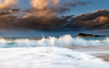 Early Morning Seascape with Clouds and Waves