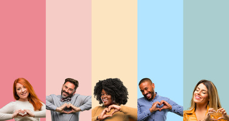 Cool group of people, woman and man happy showing love with hands in heart shape expressing healthy and marriage symbol