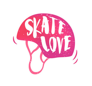 Helmet with lettering text Skate love on white background. Vector color sticker.