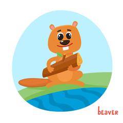 Vector cartoon illustration of wild animal beaver isolated on white