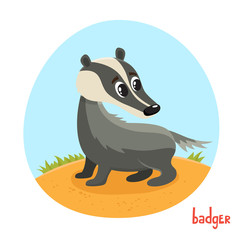 Vector cartoon illustration of wild animal badger isolated on white