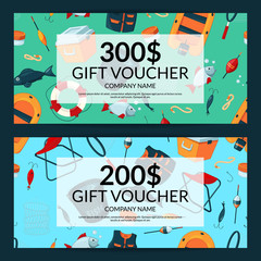 Vector discount or gift card voucher templates with cartoon fishing equipment
