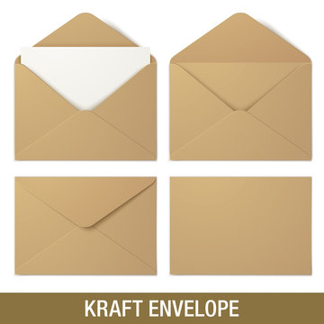 Set of kraft vector envelopes in different views, isolated on a white background. Realistic brown vector envelope mockups.