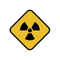 Vector illustration. Radioactive hazard. Square sign of radioactivity. Safe sign.