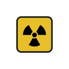 Vector illustration. Radioactive hazard. Square sign of radioactivity. Safe sign.