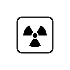 Vector illustration. Radioactive hazard. Square outline sign of radioactivity. Safe sign.