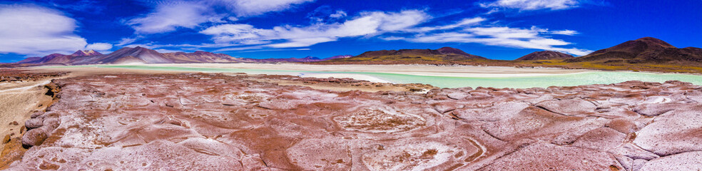 Salt lakes inside Atacama Desert at Chile in the middle of the Andes