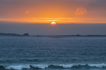 "Sunset between ""Isla Damas"" and ""Isla de Choros"" in Coquimbo region, Chile"