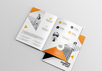 Brochure Layout with Orange Geometric Elements