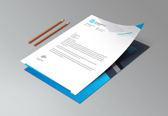 Blue and Dark Gray Letterhead Layout