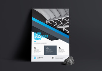 Blue and Dark Gray Flyer Layout