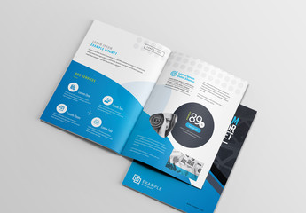 Blue and Dark Gray Brochure Layout