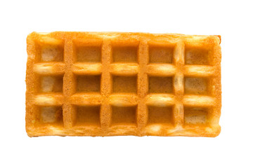 Soft waffles with a filling. Wafers with cream filling on white background. Top view.