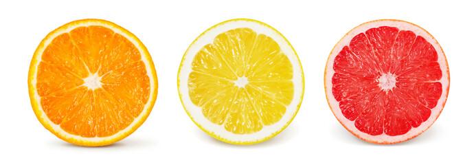 Citrus fruit. Orange, lemon, grapefruit. Set of halves Wall mural