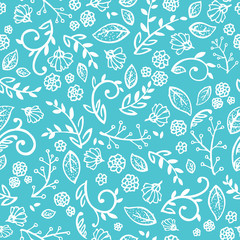 Blue And White Floral Wallpaper That Is A Seamless Repeating Vector Pattern With Fine Print