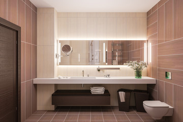3d render interior design of a modern bathroom with a large mirror