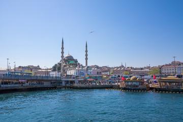 Ufer, Fischmarkt und Moschee. Auf dem Bosporus, Istanbul
