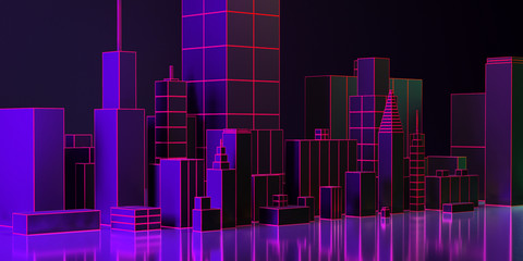 3d illustration. Night city layout with neon glow and vivid colors.