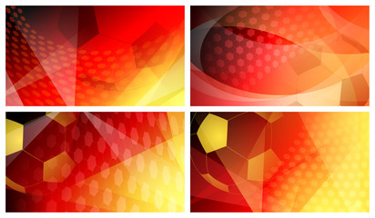 Set of four football or soccer abstract backgrounds with big ball in national colors of Germany