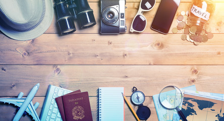 Travel Planning - Preparation For Holidays Trip - Vintage Effect