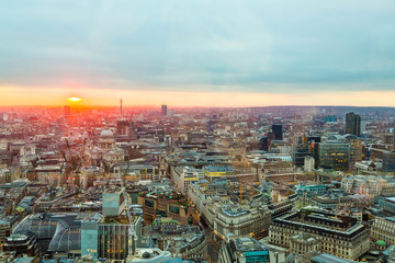 Beautiful gorgeous aerial sunset / sunrise view of the city of London from the skyscraper