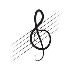 Isolated treble clef note on a pentagram